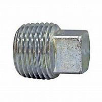 ¾ inch NPT galvanized malleable iron square head plug