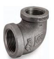 Picture of 1/2 X 3/8 inch NPT 90 degree class 150 malleable iron reducing elbow
