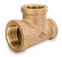 Picture of 1 x 1 x 3/4 inch NPT threaded bronze reducing tee
