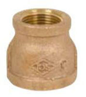 Picture of 1/2 x 3/8  inch NPT threaded bronze reducing coupling