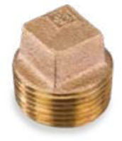 Picture of 1 inch NPT threaded bronze square head solid plug
