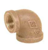 Picture of 1/2 X 3/8 inch NPT Threaded Lead Free Bronze 90 degree reducing elbow