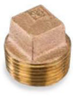 Picture of 1 inch NPT threaded lead free bronze square head hollow core plug